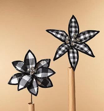 Black White Plaid Jingle Poinsettia (2-Styles)