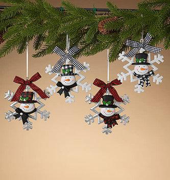 Buffalo Plaid Snowman Ornament (4-Styles)