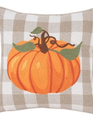 Embroidered Plaid Pumpkin Pillow (2-Styles)