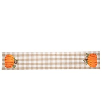 6-ft Embroidered Plaid Pumpkin Table Runner