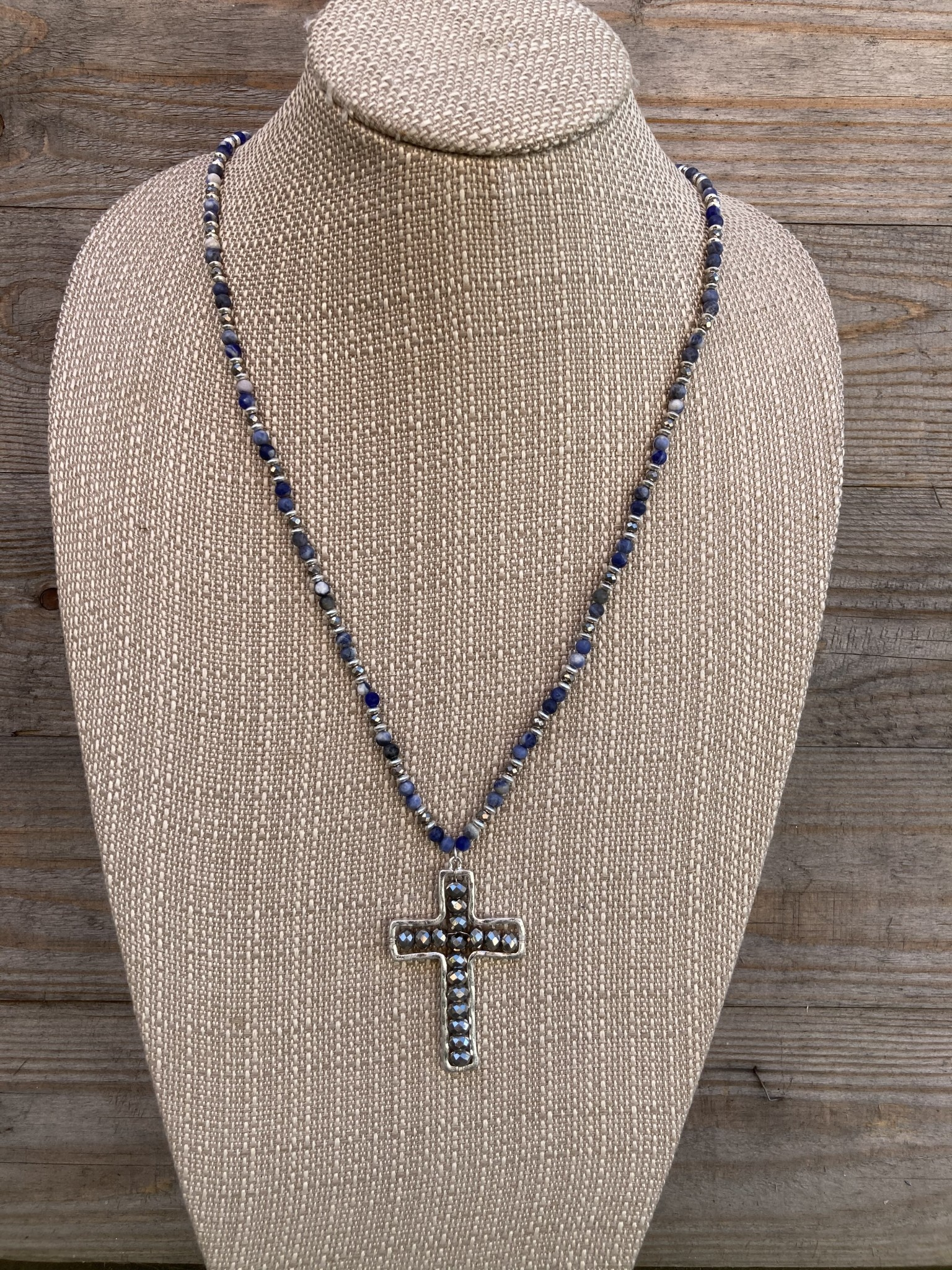 Blue Beaded Cross Necklace