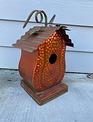 Metal Copper Finish Pumpkin Birdhouse (2-Styles)