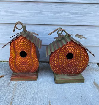 Metal Copper Finish Pumpkin Birdhouse (2-Styles)