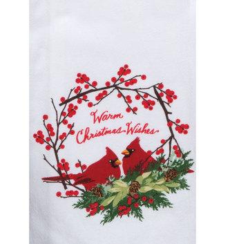 Warm Christmas Wishes Cardinal Towel