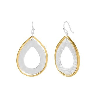 Mixed Metal Open Teardrop Earring