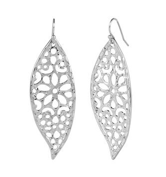 Silver Floral Dangle Earrings