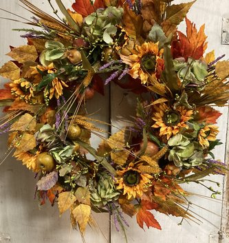 Custom Fall Hydrangea & Sunflower Wreath