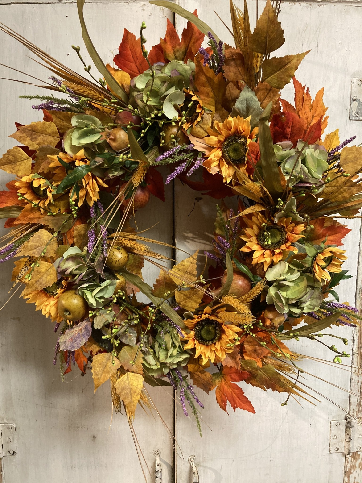 Custom Fall Hydrangea & Sunflower Wreath