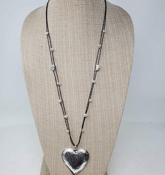 Silver Bead Heart Necklace