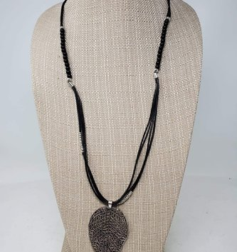 Black & Silver Leaf Necklace