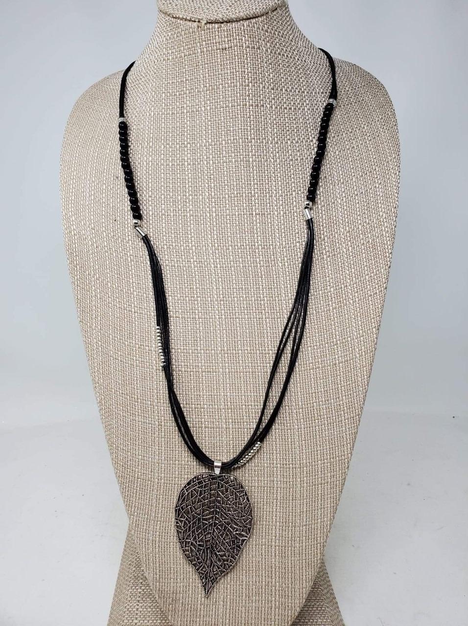Black & Silver Leaf Necklace