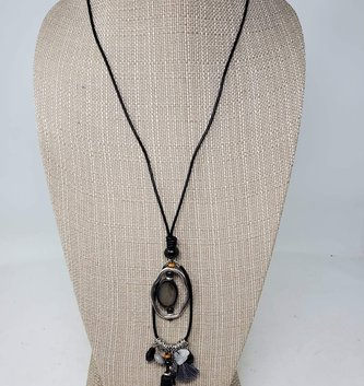 Gray Oval Charm Drop Necklace