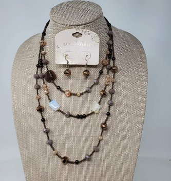 Iridescent Multi Gem Necklace & Earring Set