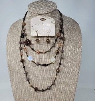 Iridescent Multi Gem Necklace & Earring Set