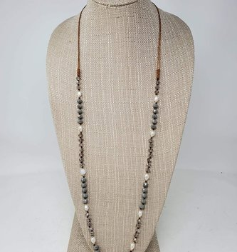 Iridescent Bead & Pearl Single Strand Necklace (2-Colors)