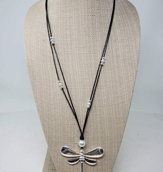 Silver Pearl Dragonfly Necklace