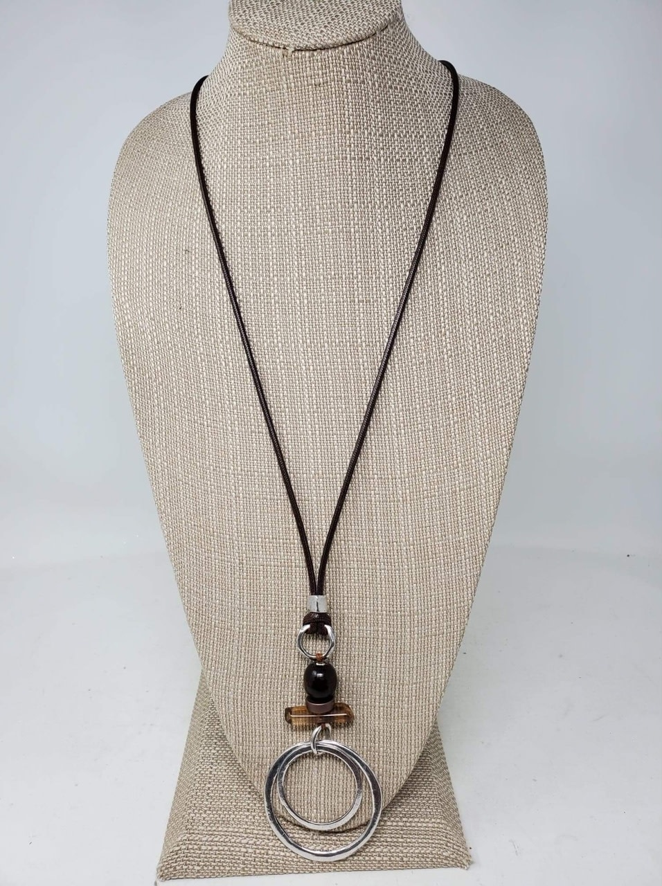 Beaded Double Ring Necklace