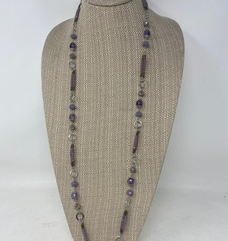 Silver Purple Mini Beaded Necklace & Earring Set