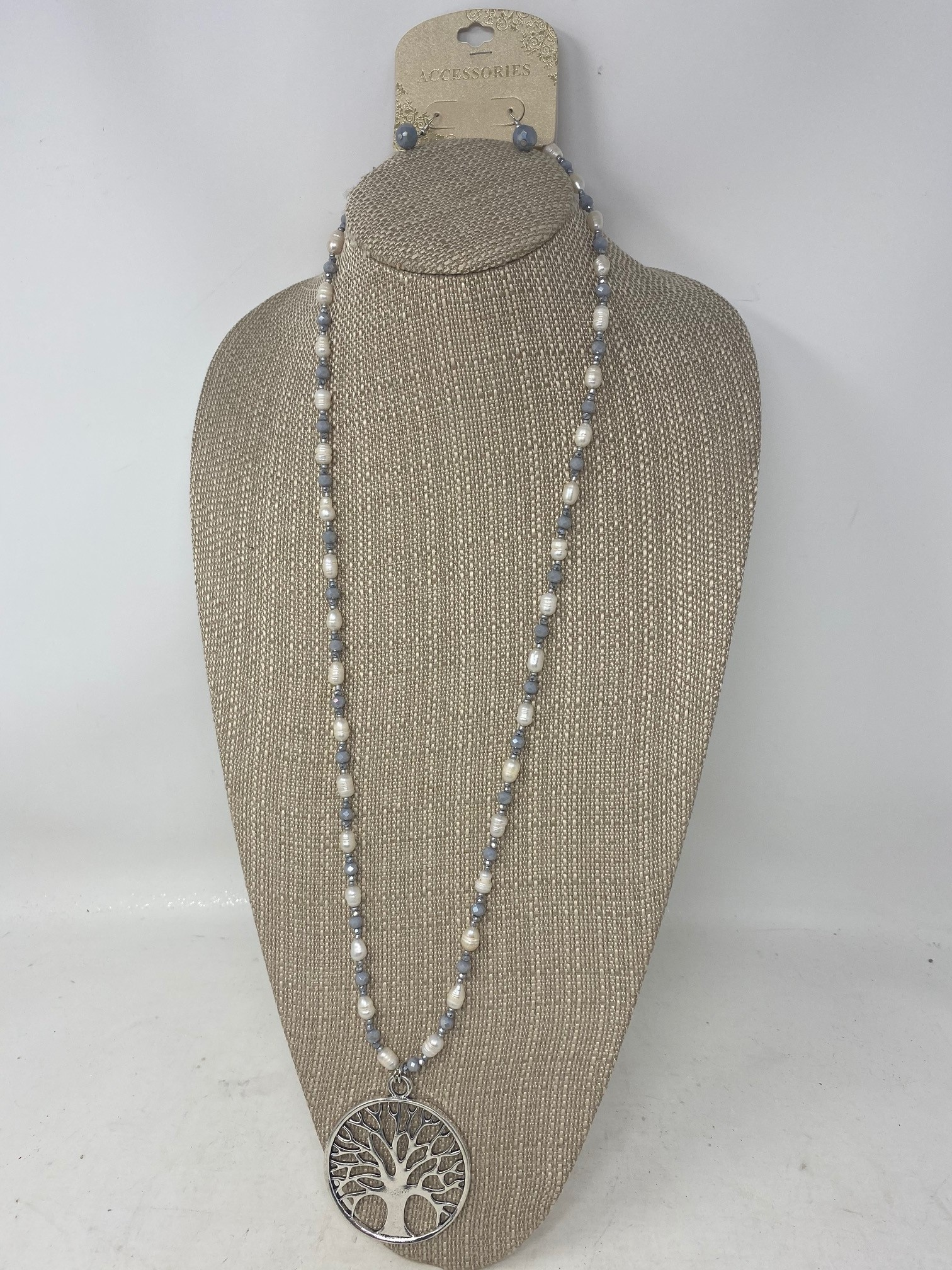 Fresh Water Pearl Tree of Life Necklace & Earring Set