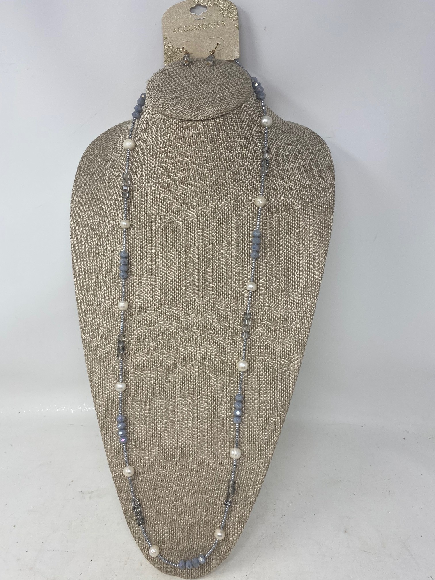 Fresh Water Pearl Gray Beaded Necklace & Earring Set