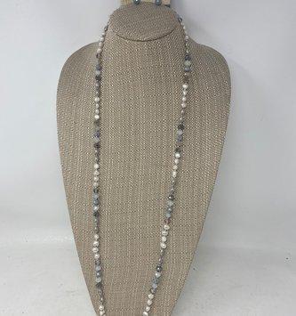 Fresh Water Pearl Dark Gray Beaded Necklace & Earring Set