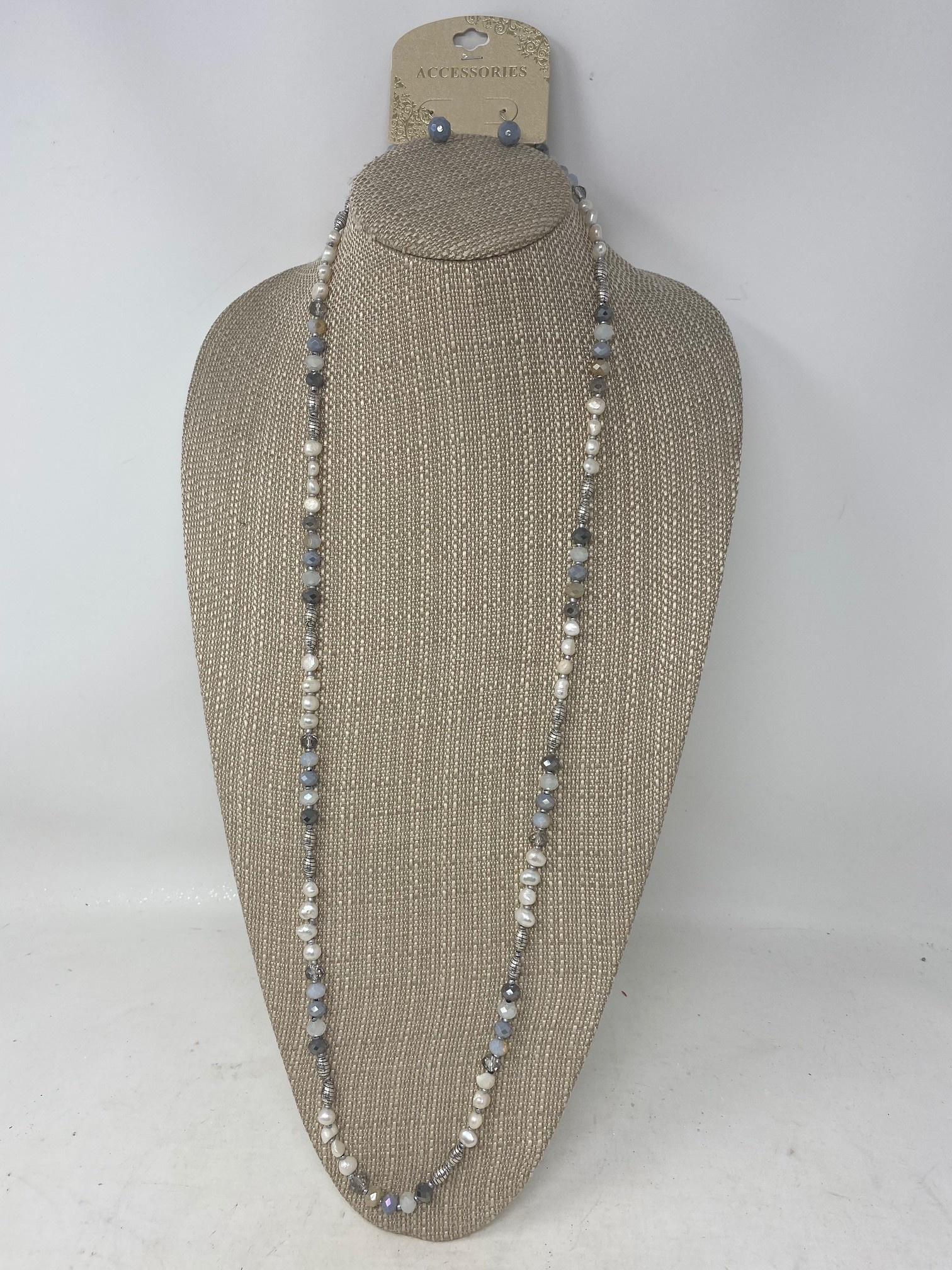 Fresh Water Pearl Dark Gray Beaded Necklace & Earring Set