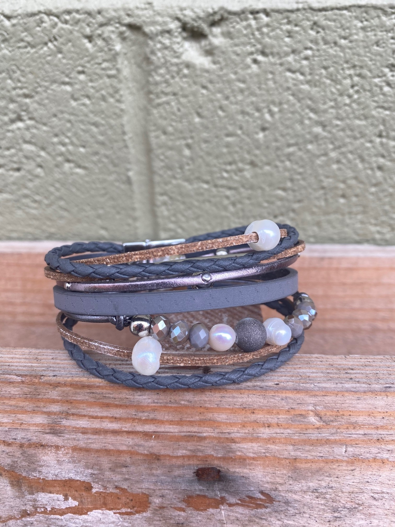 Multi Strand Pearl Beaded Bracelet Gray