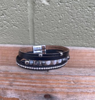 Multi Strand Beaded Bracelet Black