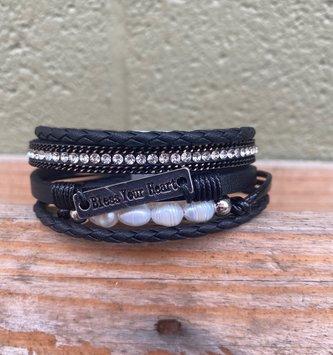 Multi Strand Rectangular Bless Your Heart Bracelet Black