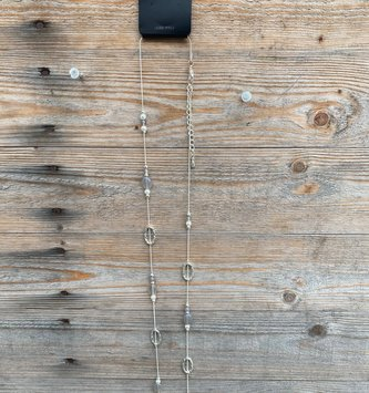 Gray Beaded Oval Necklace