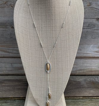 Oval Dangle Two Tone Necklace