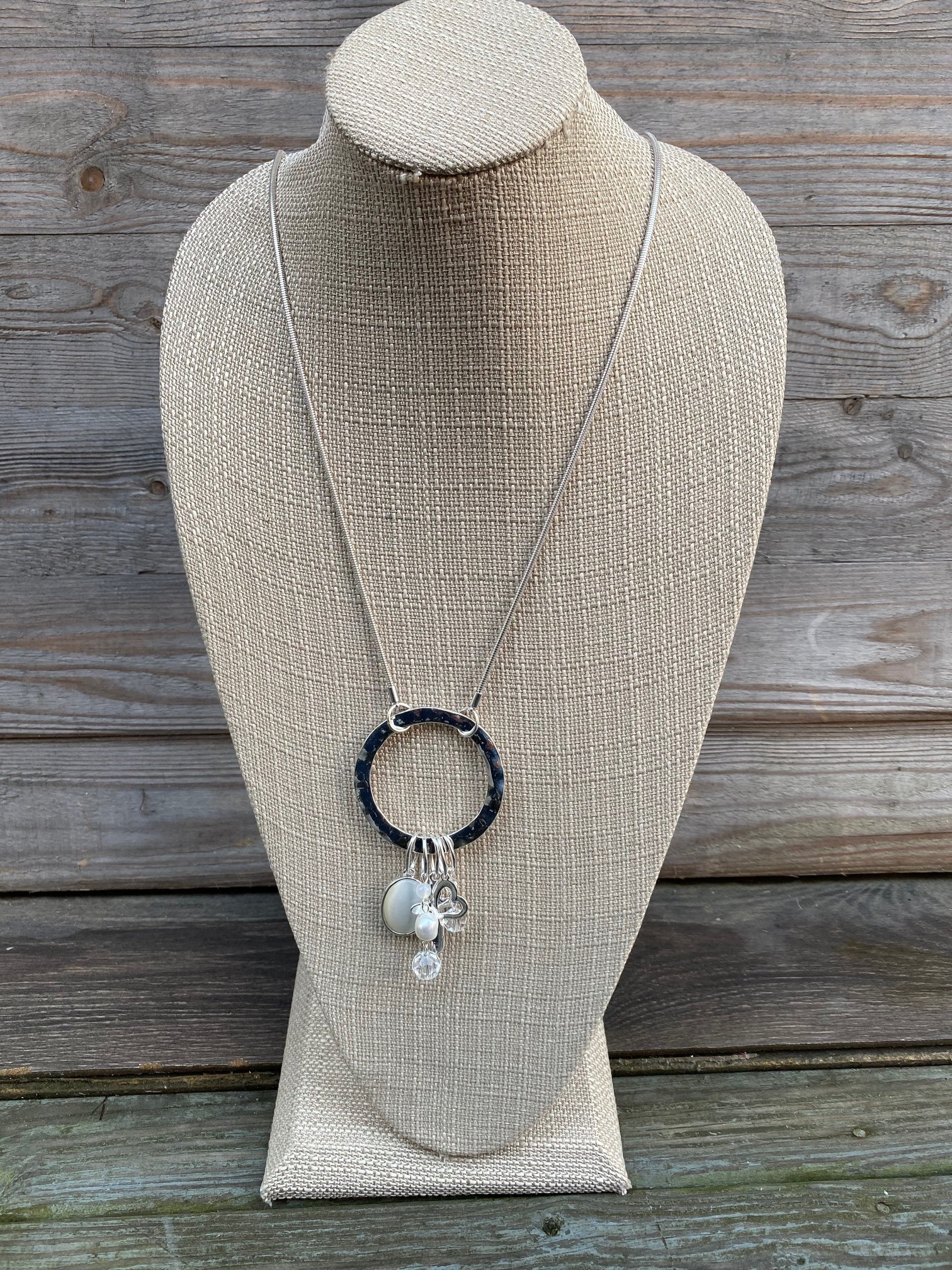 Silver Charm Medallion Necklace