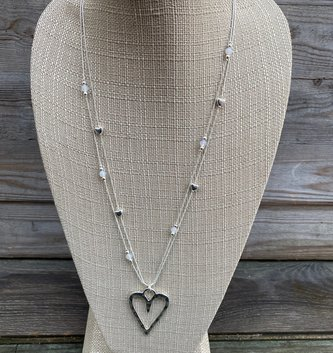 Double Beaded Heart Necklace