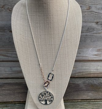Silver Tree of Life Heart Necklace