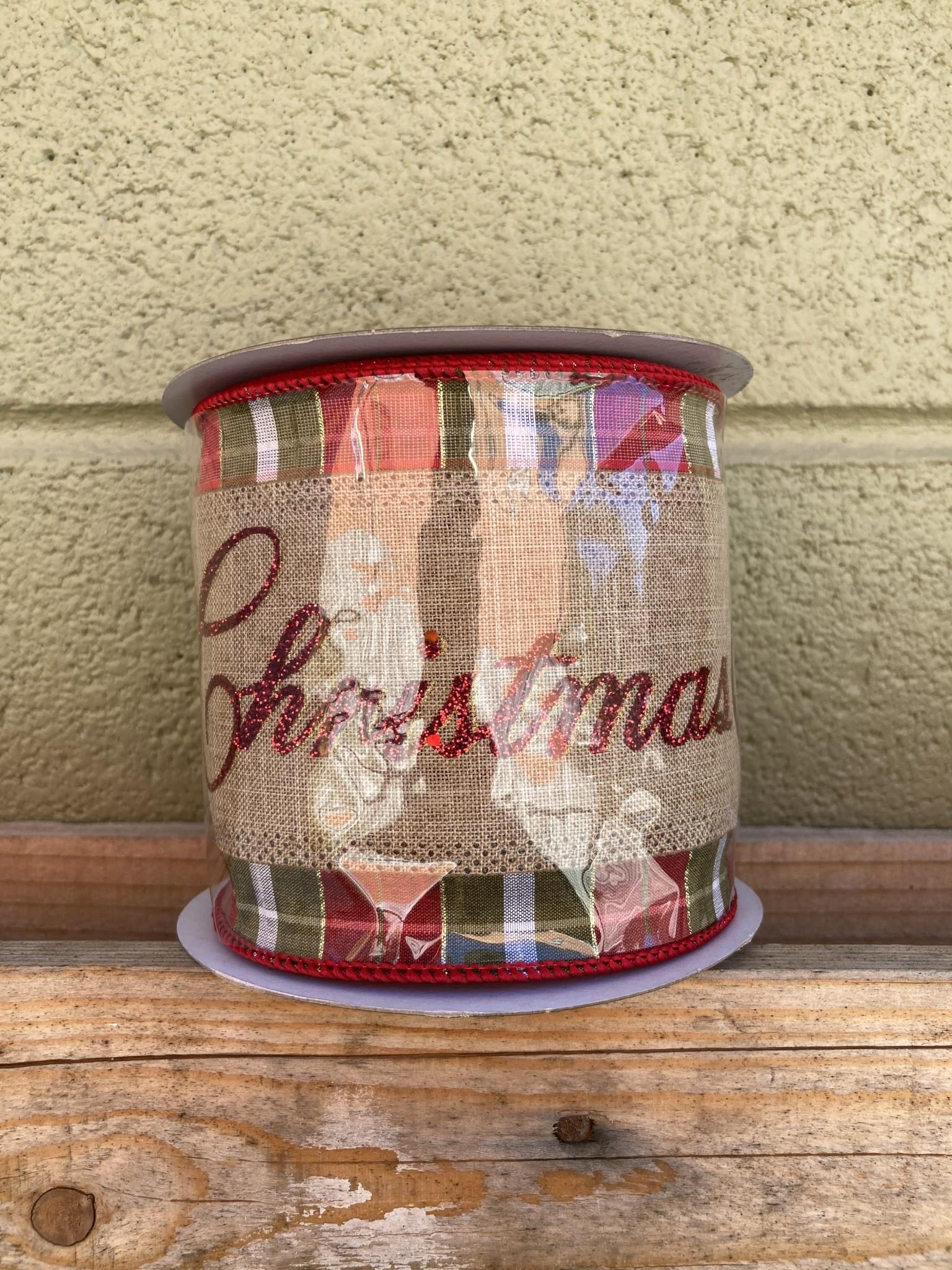 """4"""" x 10Yds Merry Christmas Plaid Ribbon"""