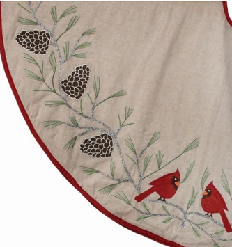 "54"" Embroidered Cardinals on Pine Branch Tree Skirt"