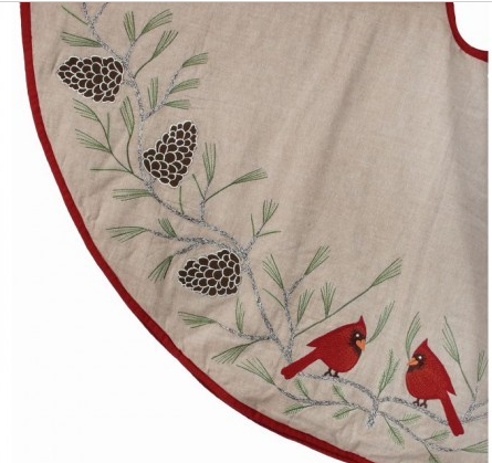 """54"""" Embroidered Cardinals on Pine Branch Tree Skirt"""
