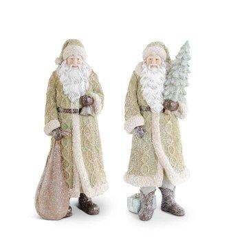 Large Green Glittered Resin Santa (2-Styles)