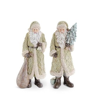 Small Green Glittered Resin Santa (2-Styles)