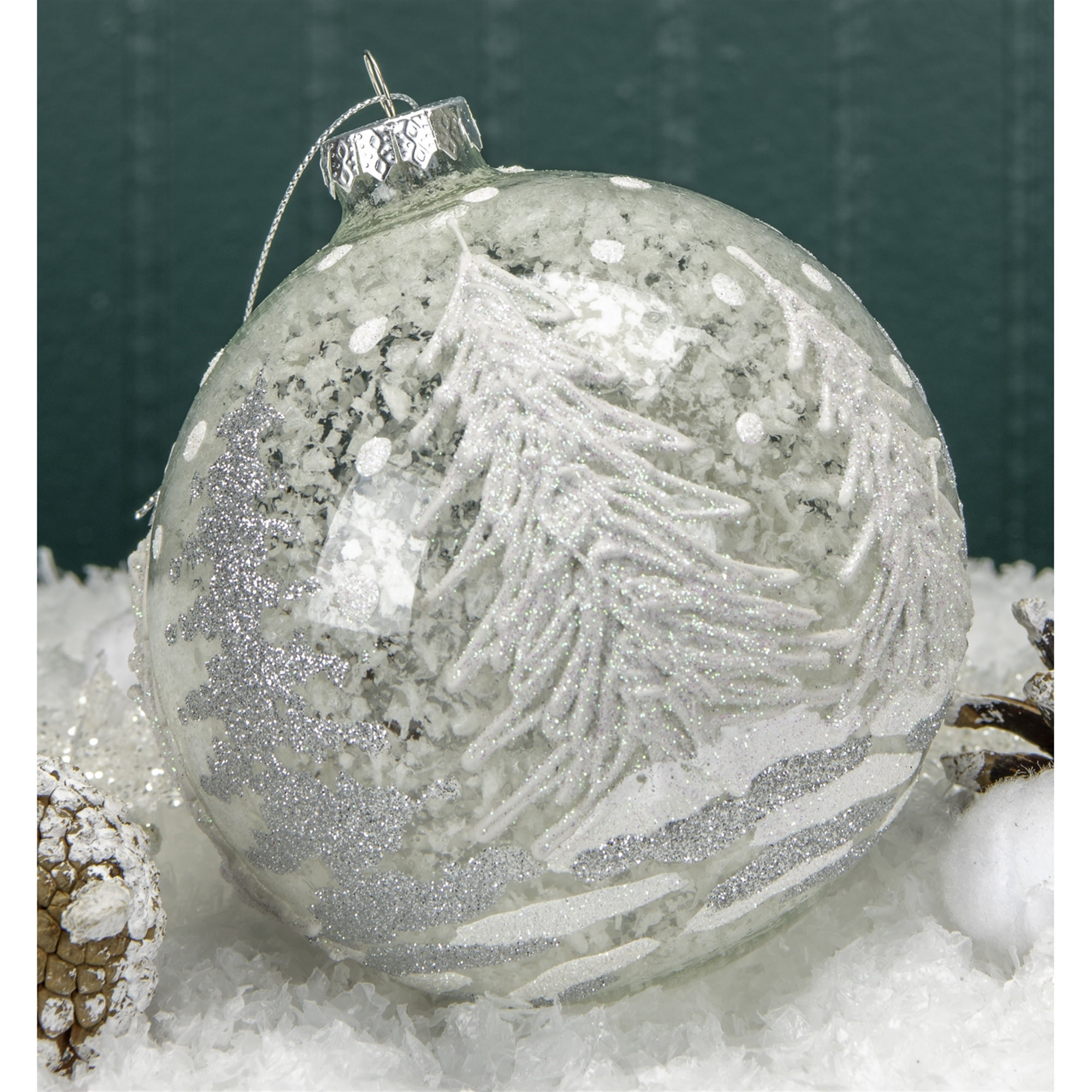 Large Round Silver Winter Forest Ornament