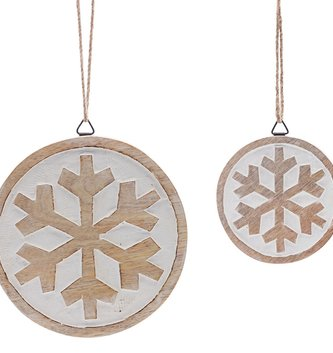Wooden Snowflake Disc Ornament