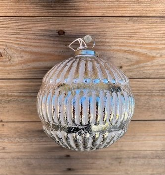 """5"""" Ribbed Distressed Silver Ball"""