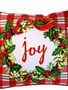 Square Plaid Christmas Wreath Pillow