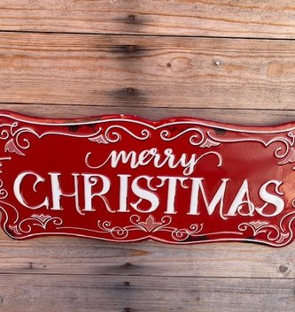 Red Embossed Merry Christmas Sign