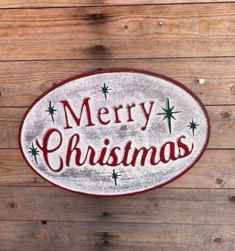 Oval Metal Vintage Merry Christmas Sign