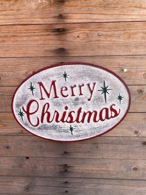 Oval Metal Vintage Merry Christmas Sign