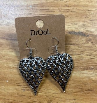 Silver Lattice Heart Earrings