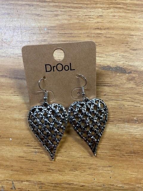 Silver Lattice Heart Earrings