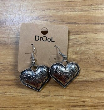 Silver Beaded Heart Earrings
