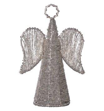 Silver Beaded Metal Angel
